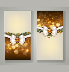 two elegant christmas greeting cards with bow and vector image vector image