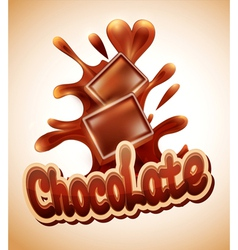 background with chocolate pieces falling into melt vector image