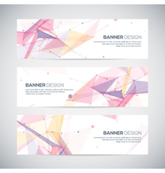 banners set with polygonal abstract shapes circles vector image vector image