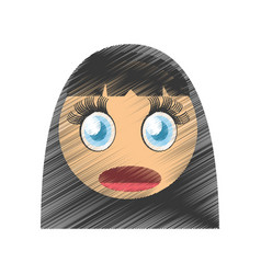 drawing girl scared emoticon image vector image