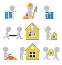 Flat people construction vector image
