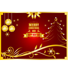 merry christmas and happy new year color gold and vector image