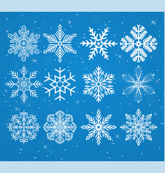 set of snowflakes on a snowy background with stars vector image vector image