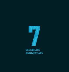 7 year anniversary aqua color template design vector
