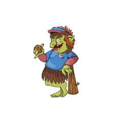 A baseball troll holding a rock vector