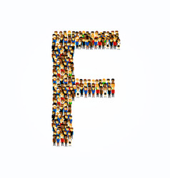 a group of people in english alphabet letter f vector image
