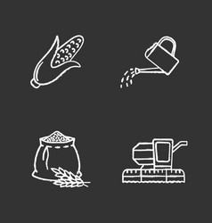 Agriculture chalk icons set vector