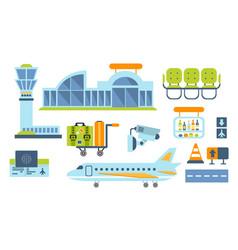airport design elements set airport terminal vector image