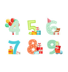 Anniversary numbers with gift boxes and inflatable vector