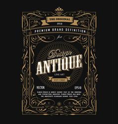 antique frame design western label vintage border vector image