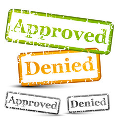Approve and denied rubber stamps with weathered vector