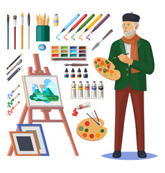 Art frenchman or artist man painter with paint vector