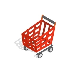 Basket on wheels for shopping icon vector image