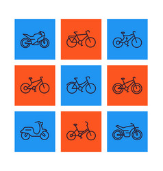 Bikes icons set linear style bicycle cycling vector