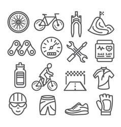biking line icons set on white background vector image