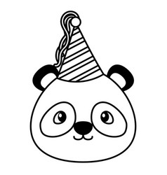 birthday celebration cute panda party hat vector image