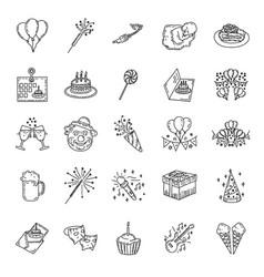 birthday set icon hand drawn style doodle art vector image