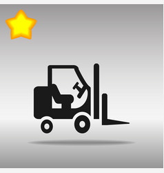 black stacker loader icon button logo symbol vector image