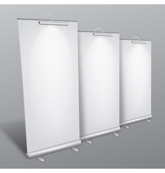 Blank roll up banners collection vector