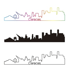 Caracas skyline linear style with rainbow vector