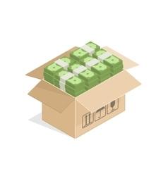 Cardboard box full of money vector image