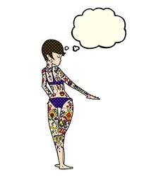 Cartoon bikini girl covered in tattoos with vector