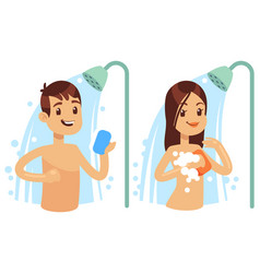 Cartoon character man and woman shower vector