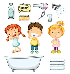Children and bathroom set vector image