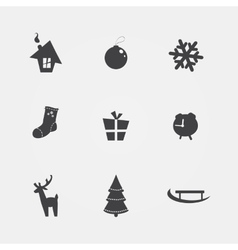 Christmas black icons vector