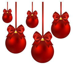 christmas red balls with bow on a white vector image