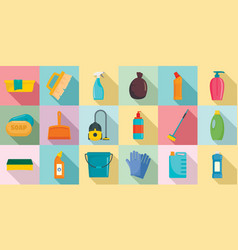 Cleaner equipment icons set flat style vector