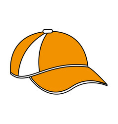 Color silhouette cartoon sport cap headwear vector