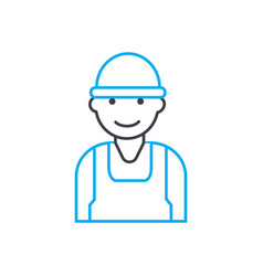 construction worker thin line stroke icon vector image