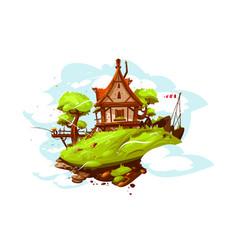 cozy house in village vector image