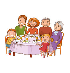Cute cartoon family dined at the table vector