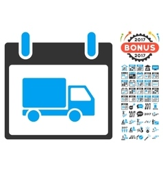 Delivery Car Calendar Day Flat Icon With vector