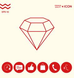 Diamond sign jewelry symbol gem stone flat vector