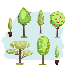 different kind trees set vector image