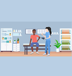 Doctor holding clipboard female therapist vector