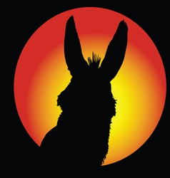Donkey in circle with color background vector