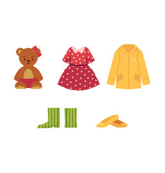Dress shoes coat teddy bear shoes and boots vector