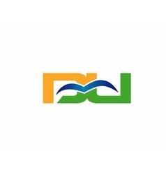 DU company linked letter logo vector