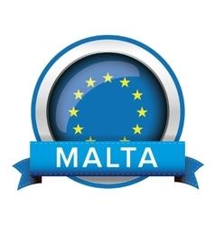Eu flag button with malta ribbon vector