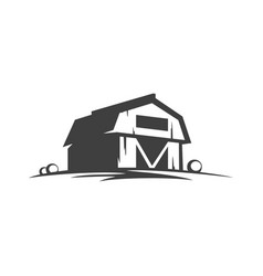 farm barn silhouette isolated on white background vector image