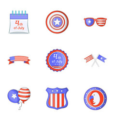 freedom day icons set cartoon style vector image
