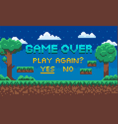 Game over end playing play again question vector