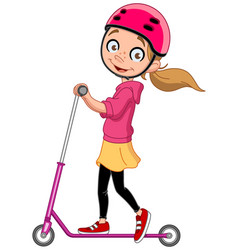 Girl on scooter vector