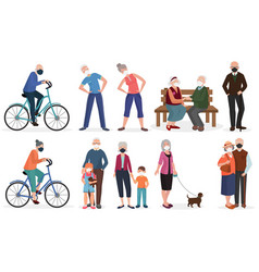 grandparents old seniors people in medical face vector image