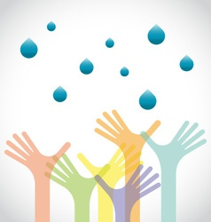 Group of raised hands with waters vector