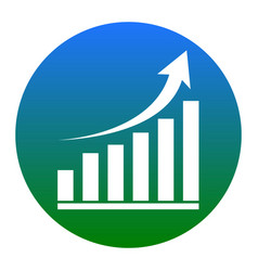 growing graph sign white icon in bluish vector image